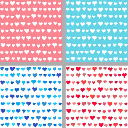 textured backgrounds: Valentines day backgrounds set. Painted hearts seamless pattern. Vector brush strokes valentine backgrounds for valentine card, greeting, banner, flyer. Hand drawn grunge hearts. Textured backgrounds. Illustration