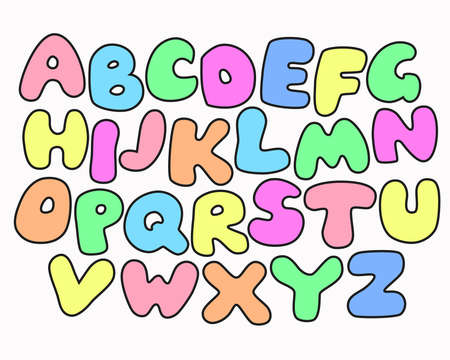 childish: Funny Colorful Alphabet poster for children. Cute cartoon alphabetic letters in rainbow colors. Black outline. Bold font abc, rounded type for birthday greeting, baby shower card, educational poster.
