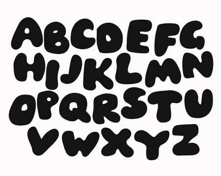 abecedario: Cartel divertido del alfabeto de colores para los ni�os. letras del alfabeto de la historieta linda en colores del arco iris vibrante. abc fuente en negrita, tipo redondeada de felicitaci�n de cumplea�os, tarjeta de bienvenida al beb�. alfabeto vector, eps10.