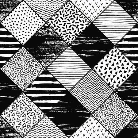 polka dot fabric: Hand Drawn Patchwork Background. Textured patterns for your design. Painted lines, polka dot, chevron, birds, waves pattern and grunge background. Black and white vector backgrounds for fabric