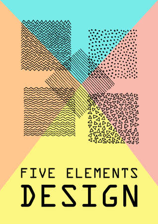 five elements: Hand Drawn Patterns Card. Colorful poster with ink patterns representing five elements. Grunge design. Vector background for business card, banner, flyer, invitation. Copy space for text