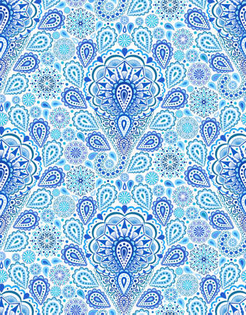 textile: Intricate Indigo Paisley Pattern. Traditional Persian seamless pattern. Almond shape, curving teardrop with floral elements. Blue white flower design. Hippie, boho chic. Vector fashionable fabric.