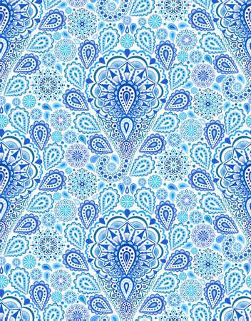 textil: Intrincado patr�n de Paisley Indigo. Modelo incons�til tradicional persa. forma de almendra, en forma de l�grima que curva con elementos florales. dise�o de flores blancas azul. Hippie, boho chic. Vector de la tela de moda. Vectores