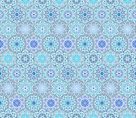 curving: Intricate Indigo Tile Pattern. Traditional Persian seamless pattern. Hexagon shape, curving flowers with floral elements. Blue white flower design. Hippie, boho chic. Vector patchwork fabric.