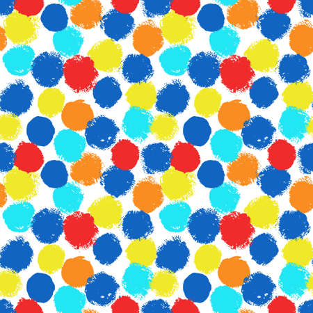 rounds: Vibrant painted background from rounds. Funny pattern for birthday card, invitation, poster, fabric print, furniture textile, curtains. Vector painted seamless pattern from rounds. Bright grunge style