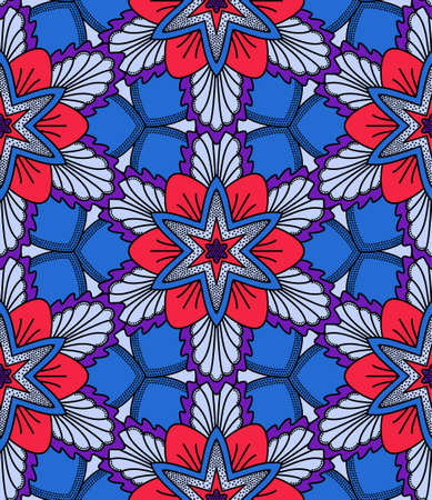 eighties: Monoline Flower Seamless Pattern. Line design, dots elements. Unusual floral pattern in blue and red colors. Hippie boho chic. Eighties or seventies style. Vector flowers for fashion fabric, wallpaper