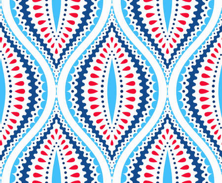 shape: Intricate Indigo Blue and Red Pattern. Traditional seamless floral pattern, decorative almond shape. Abstract leaves or fruit background for paper, fabric print. Hippie boho chic. Vector background