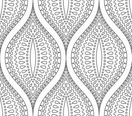 elaborate: Intricate Black and White Pattern. Line design. Monochrome floral coloring page. Decorative almond shape. Abstract leaves or fruit background for paper, fabric. Hippie boho chic. Vector background