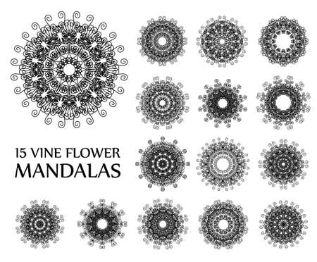 curving: Intricate Black Round Patterns. Vine flower mandalas isolated on white. Lace texture luxury flourish style. Floral design elements. Vector ornament. Hippie boho chic. Vector flower decorative elements Illustration