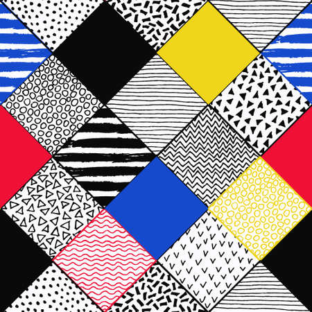 Hand Drawn Patchwork Background. Childish textured patterns. Colorful paint lines, polka dot, chevron, birds, wave pattern, squares. Vector grunge background. Blue yellow red black and white colors