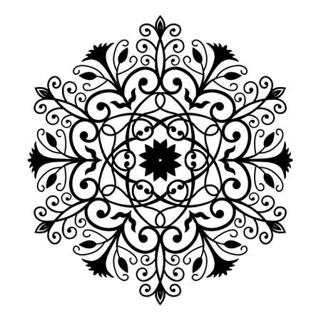 Black Forged Round Ornament. Intricate vector flower pattern in round shape. Flourish design. Weaves and leaves ornament for flower background. Black and white graphic. Decorative vector emblem. Illustration