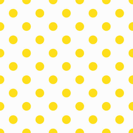 vibrant background: Yellow Polka Dot Pattern. Vector dots seamless pattern for fabric print, wrapping paper, wallpaper. Sixties-seventies design, vibrant positive style. Vector background, simple minimalistic pattern.