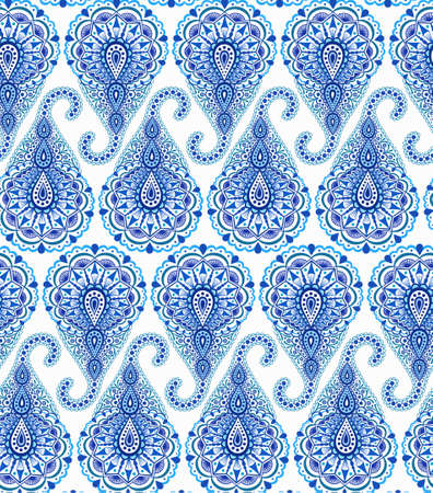 curving: Intricate Blue Paisley Pattern. Traditional Persian seamless pattern. Almond shape, curving teardrop, floral elements. Blue and white flower design. Hippie, boho chic style.