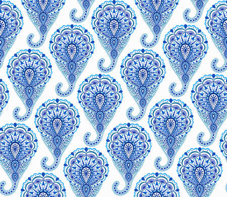curving: Intricate Indigo Paisley Pattern. Traditional Persian seamless pattern. Almond shape, curving teardrop with floral elements. Blue white flower design. Hippie, boho chic.