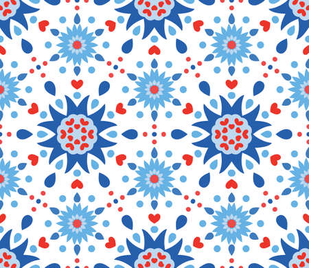 Intrincado Patrón Floral Azul Y Rojo Con Aciano. Modelo Divertido ...