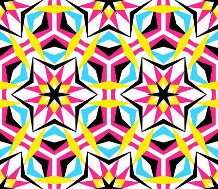 Kaleidoscope Abstract Flower Pattern. Vibrant geometric background. Fashionable graphic print. Decorative star flowers. Neon colors, psychedelic design. Colorful geometric ornament.