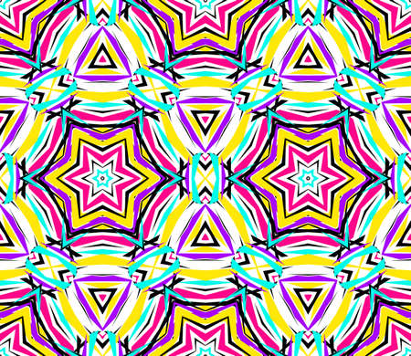 shattered glass: Kaleidoscope Abstract Flower Pattern. Vibrant geometric background. Fashionable graphic print. Decorative star flowers. Neon colors, psychedelic design. Colorful geometric ornament. Vector background.