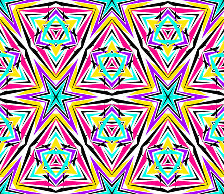 nineties: Kaleidoscope Abstract Flower Pattern. Vibrant geometric background. Fashionable graphic print. Decorative star flowers. Neon colors, psychedelic design. Colorful geometric ornament. Vector background.