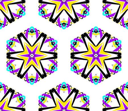 bright color: Kaleidoscope Flower Pattern. Vibrant mandala geometric background. Fashionable graphic print. Fractal star flowers. Neon colors, psychedelic design. Colorful geometric ornament. Vector background.
