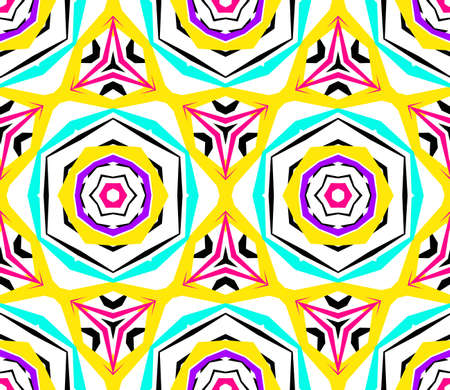 shattered glass: Kaleidoscope Flower Pattern. Vibrant mandala geometric background. Fashionable graphic print. Fractal star flowers. Neon colors, psychedelic design. Colorful geometric ornament. Vector background.