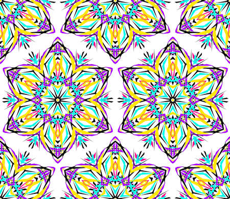 nineties: Kaleidoscope Flower Pattern. Vibrant mandala geometric background. Fashionable graphic print. Fractal star flowers. Neon colors, psychedelic design. Colorful geometric ornament. Vector background.
