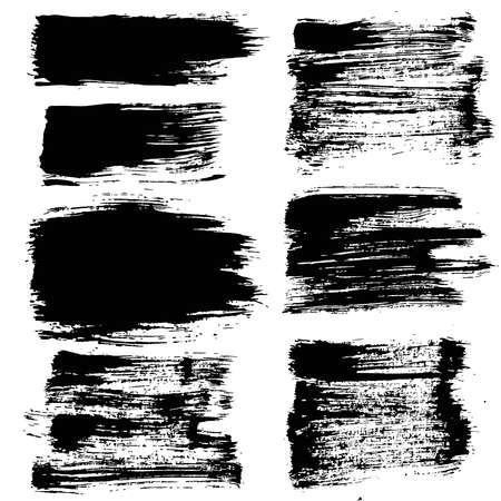strokes: Set of grunge brush strokes. Paintbrush backgrounds set for text. Distress texture, isolated. Vector design elements for banners, labels, badges templates, frames, pattern brushes. Painted backgrounds