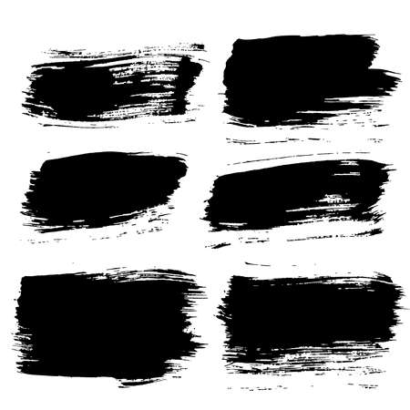 paint brush: Set of grunge brush strokes. Paintbrush backgrounds set for text. Distress texture, isolated. Vector design elements for banners, labels, badges templates, frames, pattern brushes. Painted backgrounds