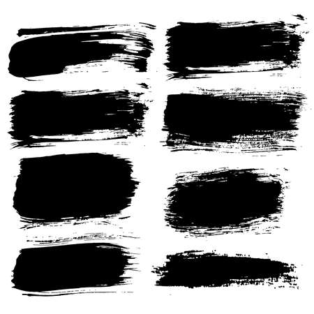 rough: Set of grunge brush strokes. Paintbrush backgrounds set for text. Distress texture, isolated. Vector design elements for banners, labels, badges templates, frames, pattern brushes. Painted backgrounds