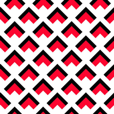 Vector background. Geometric pattern. Black red triangle pattern on white background. Decorative pattern for wallpaper, furniture, interior decoration, fashion fabric. Vector pattern, modern design Illustration
