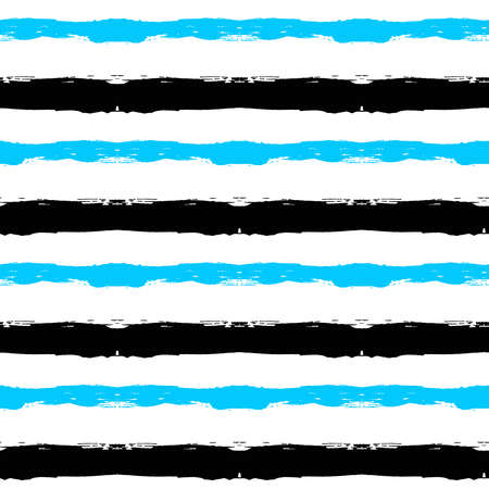 Vector Painted Pattern. Textured geometric background. Abstract seamless pattern from brush strokes. Horizontal striped background. White, black and blue colors. Ilustração