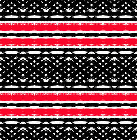 textured: Vector Painted Pattern. Textured geometric background. Abstract seamless pattern from brush strokes. White, black and red colors. Intricate unusual design.