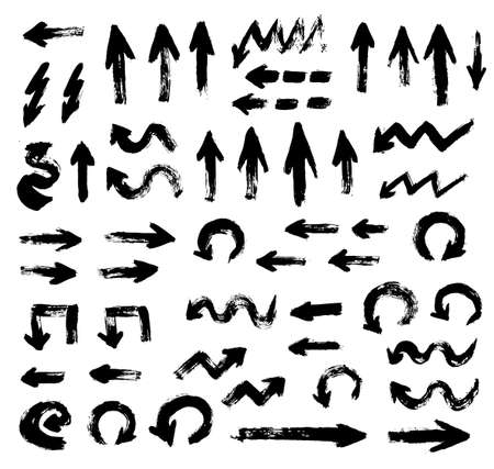 Big Set of Painted Arrows. Collection of different arrows from brush strokes. Grunge style, distress texture. Painted design elements. Vector arrows isolated on white background. 일러스트