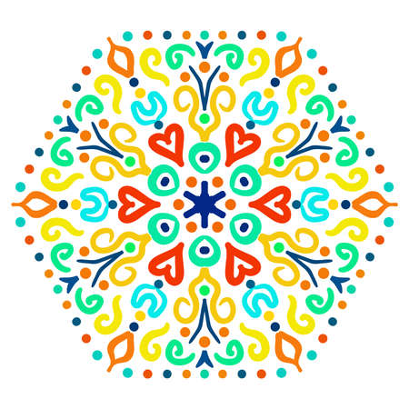 vibrant colors: Bright Hexagon Ornament from colorful elements. Abstract flower motif. Vibrant colors in vector ornament. Bright decorative element for your design. Illustration