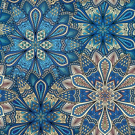 dessin fleur: Intricate motif vecteur de fleur. Élaborer fond floral à partir d'éléments de fleur de mandala pour votre conception. Vector floral seamless pattern dans le style hippie boho. lignes vectorielles fond. ornements ronds