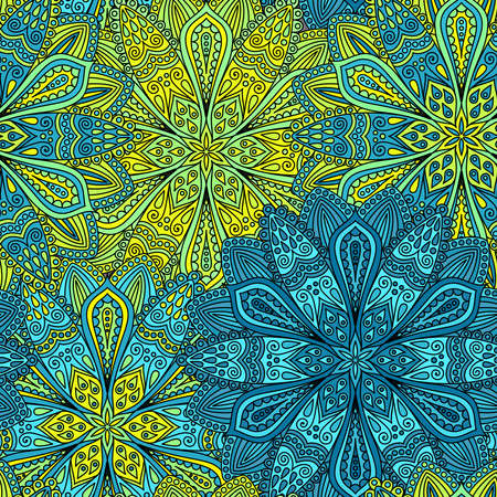 Intricate vector flower pattern. Elaborate floral background from flower mandala elements for your design. Vector floral seamless pattern in hippie boho style. Vector lines background. Round ornaments