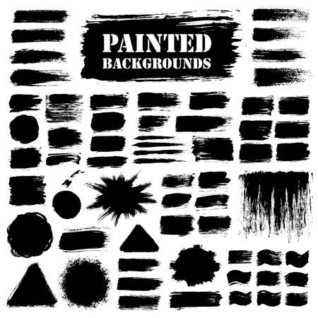 Black grunge background set, paint texture. Brush strokes with paint splash. Brush paint grunge border. Brush stroke, paint brush grunge texture, grunge banners, grunge elements for your design