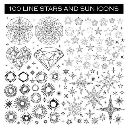 Big Bundle of Stars and Sun Icons. Line design stars and sun icons, black on white background. Decorative heart, isolated stars, diamond and suns. Stars in circle, abstract star shapes. Ilustracja