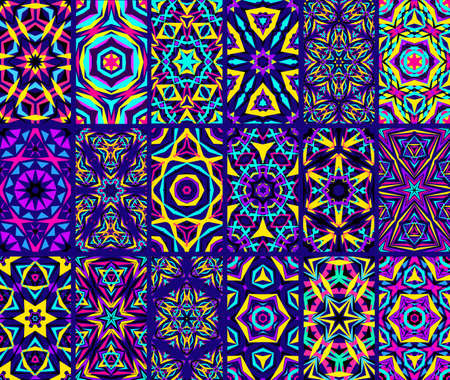 Kaleidoscopic Patterns Set. Abstract kaleidoscope flower patterns. Kaleidoscope backgrounds. Bright tile patterns set. Indigo colorful backgrounds. Seamless patterns. Geometric patterns