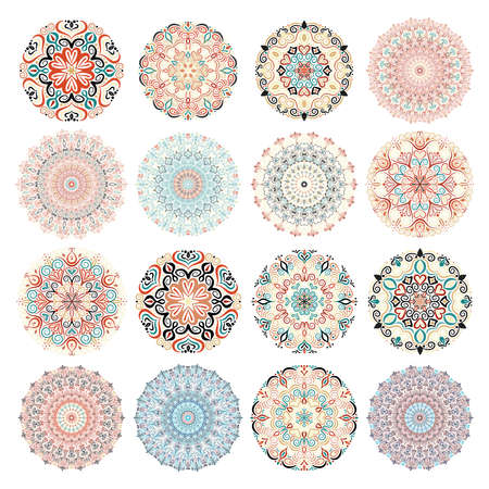 Isolated Mandala Patterns set. Colorful round ornaments. Floral templates for your design. Flower design elements. Intricate mandala patterns for meditation, yoga, relax, tattoos, invitations design.