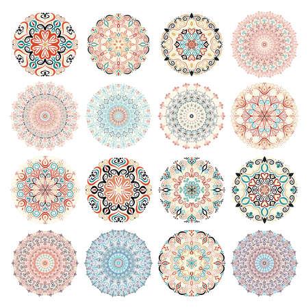 分離のマンダラ パターンを設定します。カラフルな丸い装飾品。あなたのデザインの花テンプレート。花のデザイン要素です。瞑想、ヨガのための