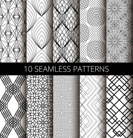 strict: Set of black line seamless patterns. Different lines backgrounds for interior design, wallpaper print, fashion fabric, furniture, gift paper. Black ornaments, strict patterns and minimalistic patterns