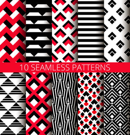 Red, white and black seamless patterns set. Abstract geometric backgrounds for business brochures, website templates.