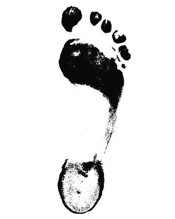 imprint: Black Foot Imprint. Isolated painted foot imprint on white background Illustration