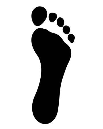 Black Foot Imprint. Isolated foot imprint on white background Illustration