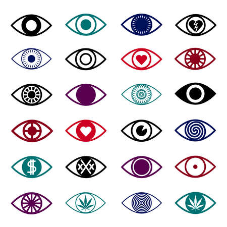 stoned: Different eye icons isolated on white background.
