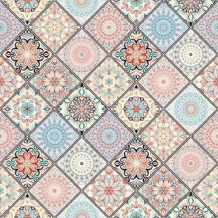 Bogaty ornament kafelkowy z kolorowych mandali. Wzór w stylu orientalnym. Kwadratowy wzór patchworku. Skomplikowany wzór płytek. Elegancki wzór płytek Boho do modnych tkanin, mebli, tapet.