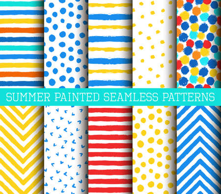 chevron patterns: Summer Painted Patterns Set. Collection of bright backgrounds from brush strokes. Painted polka dot, striped and chevron patterns.
