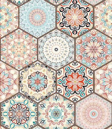 カラフルなマンダラから豊富な六角形タイル飾り。オリエンタル スタイルのシームレスなパターン。正方形のタイルのパッチワークのデザイン。複  イラスト・ベクター素材