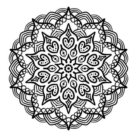 Coloring Book Página Con Mandala Esquema. Mandala Lineal Aislado En ...