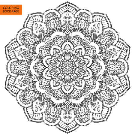 Black Mandala for coloring book. Line mandala isolated on white background. Outline mandala for coloring page. Intricate mandala design. Vettoriali